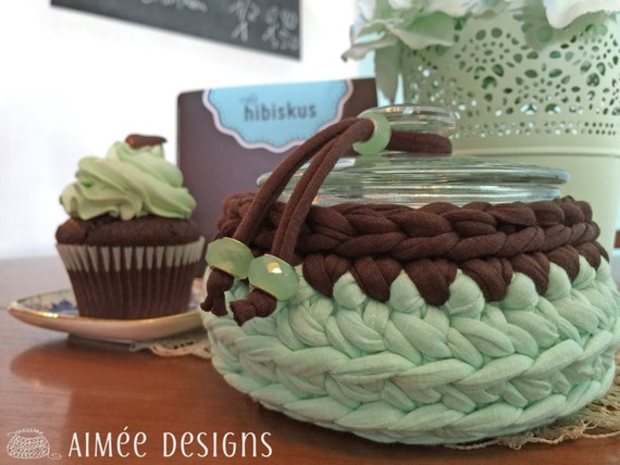 The Peppermint Cupcake II - crochet bowl -  basket -  T-Shirt yarn - glass jar - light mint green &  chocolate brown - crystal glass beads