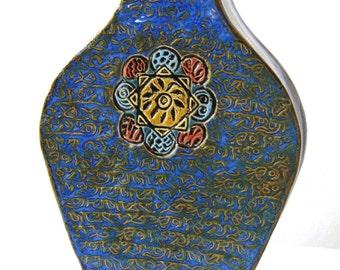 "Vintage Pottery Hand Built Ceramic Vase by Vicki Dumas, 10.5"" H, Slab Construction"
