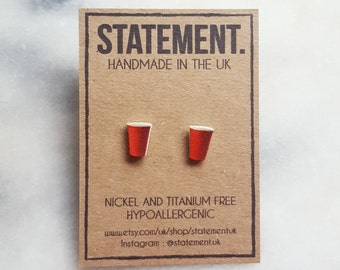 Red Beer Pong Party Cup Stud Earrings - 1 pair