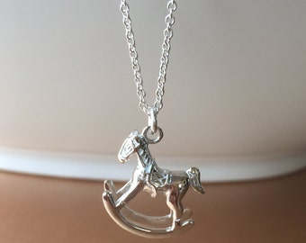 Rocking horse charm necklace. Silver 925. Free shipping within USA.