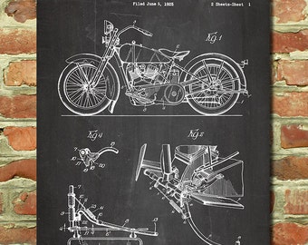 Vintage Harley Davidson Art Motorcycle Art Decor Mens Harley Gift for Dad Motorcycle Gift for Him Motorcycle Baby Nursery Harley Patent P154