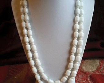 Vintage milk glass, double strand necklace with flower clasp