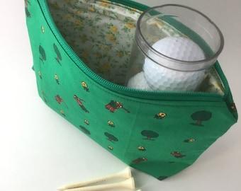 Golfing Ladies Notions Bag, Makeup Bag, Zipper Pouch, Pencil Case