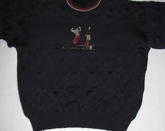 Men SWEATER golf PULLOVER vintage wool navy golfing embroidered IVANHOE  sweater