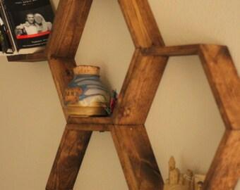 """Honeycomb Shelves, (4"""" Depth), Hexagon Shelves, Geometric Shelves"""