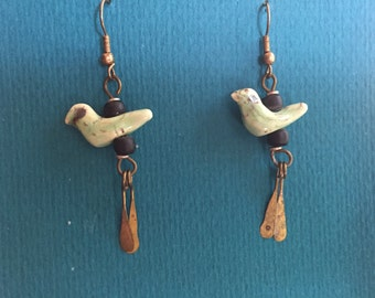 Ceramic dove earrings