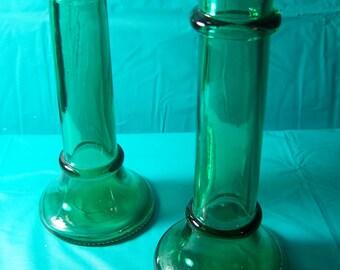 Pair of Vintage Emerald Green Glass Candlesticks