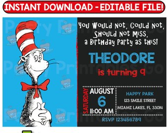 SALE-> 50% OFF Cat in the Hat invitation, Dr. Seuss Invitation, Cat in the Hat birthday, Dr Seuss birthday, Editable File, Instant Download