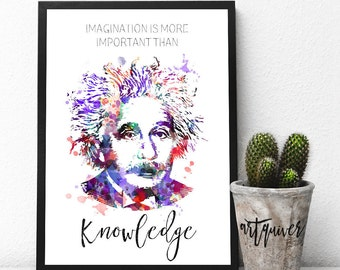 Inspirational posters, Albert Einstein Quotes, Albert Einstein posters, famous quotes about life, motivational, Wall Art, Watercolor