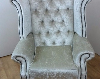 Ivory Crushed Velvet Queen Anne style chair