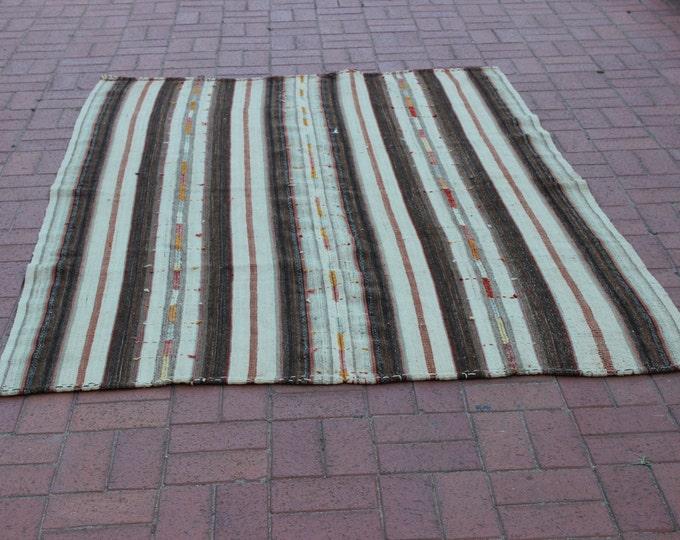 """CHRISTMAS SALE %7 Turkish Kilim Rug, 64.8"""" x 90"""" / 162 x 225 cm, Bohemian Rug, Handwoven Rug, White Kilim Rug"""