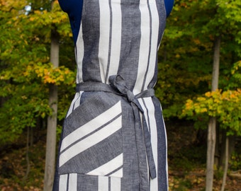 Striped Linen Apron Gray White  Awning Stripe Classic