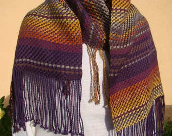 Handmade woven shawl. Wool shawl. Women shawl. Special design - fringes also on one long side! Gifts for women.
