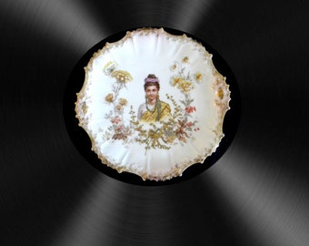 Limoges portrait plate with heavy gold - Dodd and Werner Co.