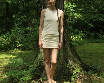 organic stretch mini skort - natural hemp and organic cotton custom made