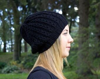 Black Slouchy Knit Hat - Black Vegan Hat - Boho Hat - Hipster Hat - Hippie Hat - Womens Tam - Mens Beanie - Handknit - Gift for Her