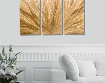 Light Copper Modern Metal Wall Sculpture, Contemporary Metal Wall Art, Abstract Wall Art Decor, Set of 3 - Copper Plumage 3p by Jon Allen