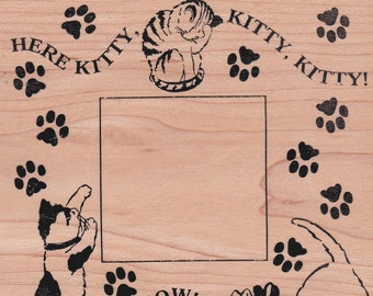 HERE KITTY!  Very Large Rubber Stamp Frame  by Rubber Stampede - Vintage OOP - Rare - New Unused