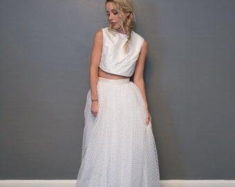 Full Length Aspirin Dot Net Skirt - Long