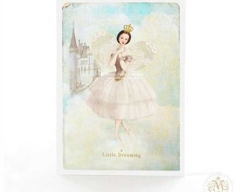 Fairy card for birthday, Christmas, all occasion, fairy tale dreaming, castle in the clouds