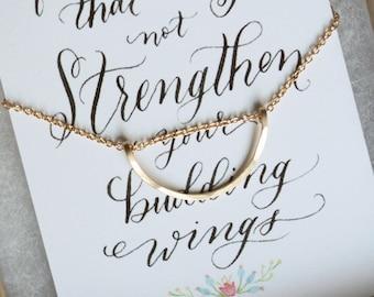 Hammered 14k Gold Filled Necklace/Card Gift Set