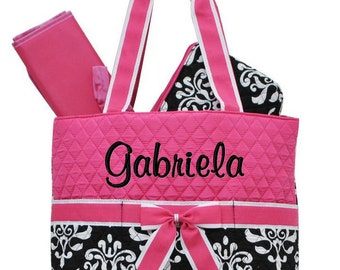 Diaper Bag Personalized Black Damask Hot Pink Quilted Monogrammed