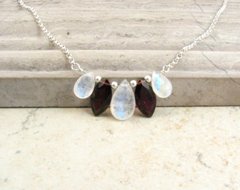 Rainbow Moonstone Necklace with Garnet and Silver - Moonstone Garnet Necklace - Dainty Gem Necklace - Short Layer Necklace