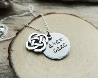 Anam Cara Soul Friend Necklace- Celtic Knotwork Pendant- Stamped Anam Cara Hidden Message Necklace