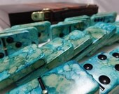 Ocean View --- Hand Painted 28 Piece Professional Size Double Six Dominoes, SPINNERS in Leatherette Storage Briefcase, instructions, starter