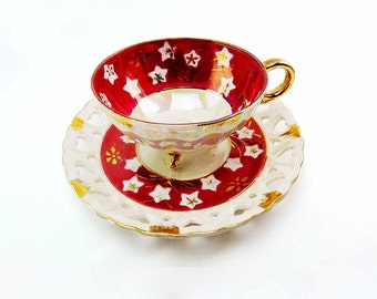 Maroon Red 3-Footed Cut Out Hearts Saucer Lusterware Tea Cup Set JAPAN Vintage 1940s Gold Asian Star Flowers Golden Branches Fine Porcelain