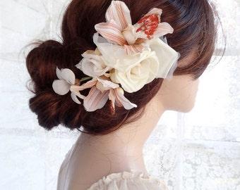 bridal headpiece, wedding hair piece, ivory flower hair clip, rust, burnt orange wedding, silk flower hair comb, ivory hair flower