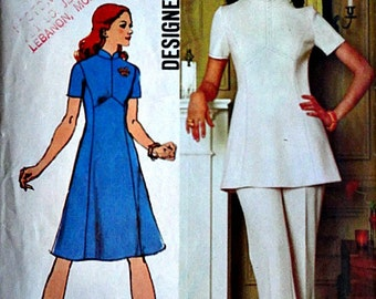 Vintage 70's Simplicity 5292 Sewing Pattern, Misses Dress or Tunic and Pants, Size 12, 34 Bust, Uncut, Designer Fashion, Retro
