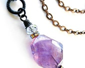 Amethyst Quartz Long Necklace Wire Wrap Crystal Rhinestone Pagan Pendant Boho Chic Priestess Statement Fashion AVALONIA by Spinning Castle