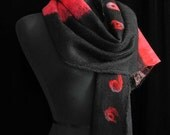 Nuno Scarf Merino Wool Silk Scarf Felted Scarf - Red Flame