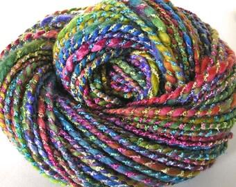 Handspun Hand Dyed Yarn Chunky Yarn Hand Dyed Bulky Wool Rayon Silk Yarn Art Yarn FiberFusion Yarn 6.2 oz - Rainbow Sparkle