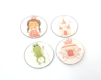 "4 Princess Buttons. Brunette Princess Buttons.  Sewing Buttons for Girls. 3/4"" or 20 mm round. Princess, From, Carriage, Castle."