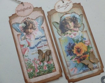 Garden fairy bookmarks or tags, vintage style, floral, wild flowers, seed packets, butterflies, hand stamped - set of 4