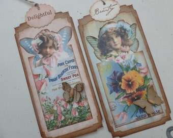 Garden fairy bookmarks or tags vintage style vintage inspired floral wild flowers flower seed packets butterflies hand stamped - set of 4