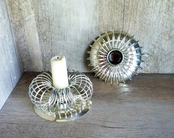 Mid Century Silver Plate Candlestick Holders , Silver Spring Candleholders , Slinky Style Candle Holders , Vintage Silver Candle Holders