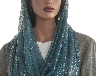 Kaatnu™ Veil Teal Blue Sequin Lace Veil Headcovering Christian Scarf Catholic Veil Chapel Veil Mass Veil Prayer Scarf Dressy Veil Handmade