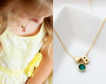 Child's Birthstone Necklace - Flower Girl Necklace Children's Letter Necklace Initial Custom Flower Girl Gift Personalized Birthstone Custom