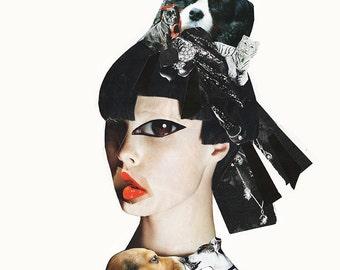 DOG GEISHA Collage Print / Mixed media / Japan / Girl / Dogs / Art / Woman / Dog (sizes a4 - a3)