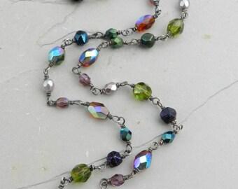 Jewel Tones Sparkler Vintage Glass Bead  Layering Necklace--Wrap Bracelet