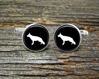 Dog German Shepherd Cufflinks-Wedding-Jewelry Box-Silver-Gold-Keepsake-Dogs-Groomsman-Groom-Police Dog-Black Dog-Pet-German Shepard