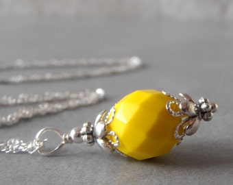 Lemon Yellow Bridesmaid Necklace Yellow Pendant Necklace Simple Wedding Jewelry  Sterling Silver 16 18 or 20 Inch Chain Bridesmaid Gift