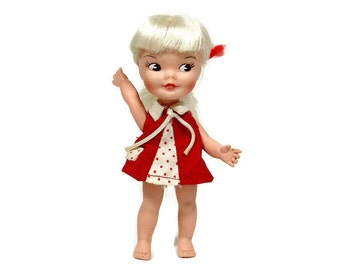 "1964 Vintage Doll | HEIDI Pocket Book Doll | She Waves | Doll Clothes | 5 1/2"" Doll 