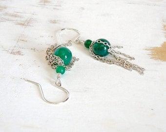 Emerald Green Earrings, Sterling Chain Drop Earrings, Boho Chic Jewelry, Tassel Drop Earrings, Green Agate Jewelry, Gift for Mothers Day