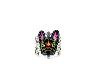 French Bulldog in Black - Day of the Dead Sugar Skull Dog Adjustable Ring