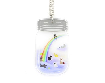 SALE Regularly 19.95 - Heaven in a Jar - The Rainbow Bridge - Mason Jar Pet Memorial Necklace - Dogs and Cats