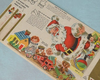 Vintage Post Cereal Santa Claus Sleigh Cut-Out Christmas Decoration Paper Toy
